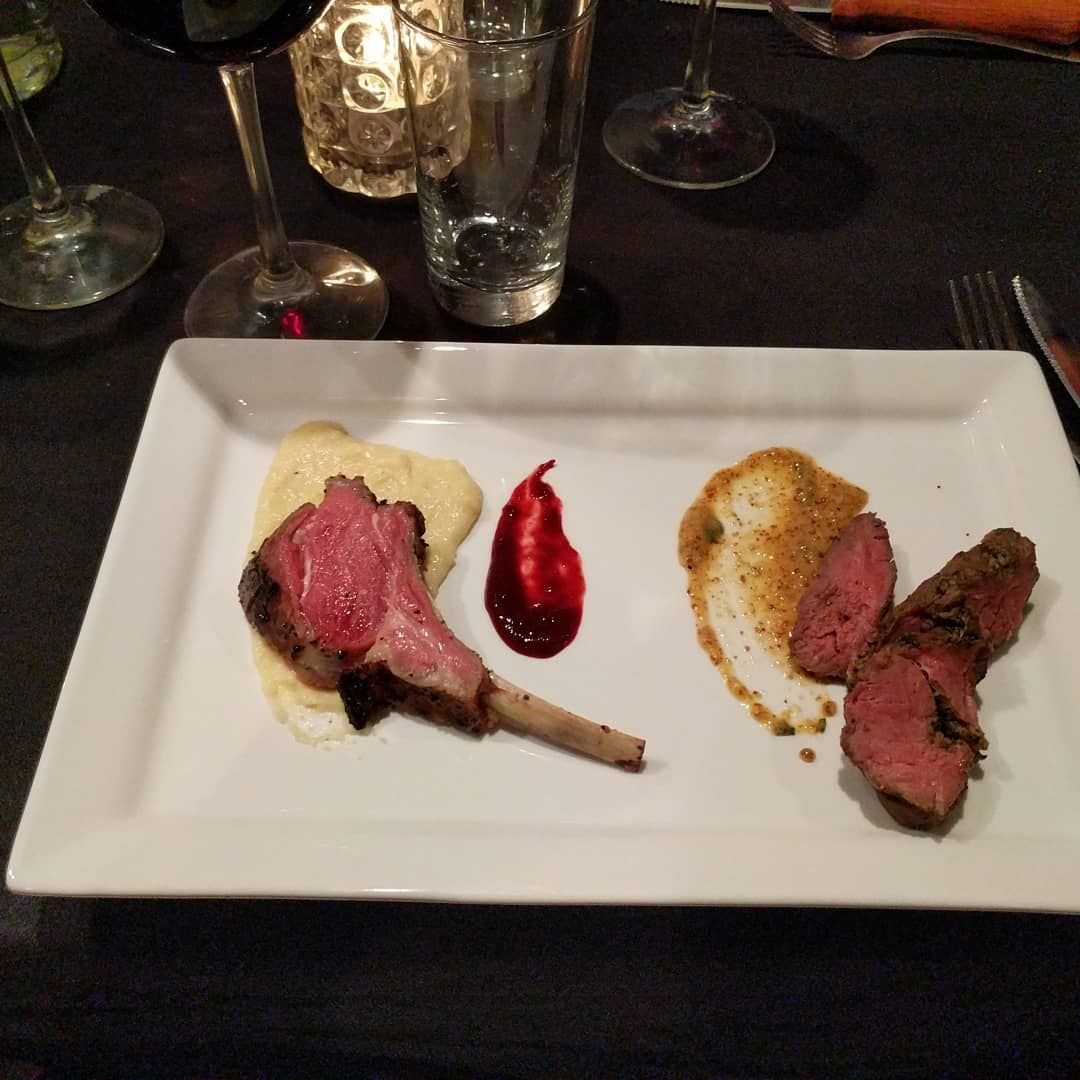Lamb chop with blackberry compote, and lamb remoulade with grain mustard and horseradish #craftedstl #pairingdinner #foodporn