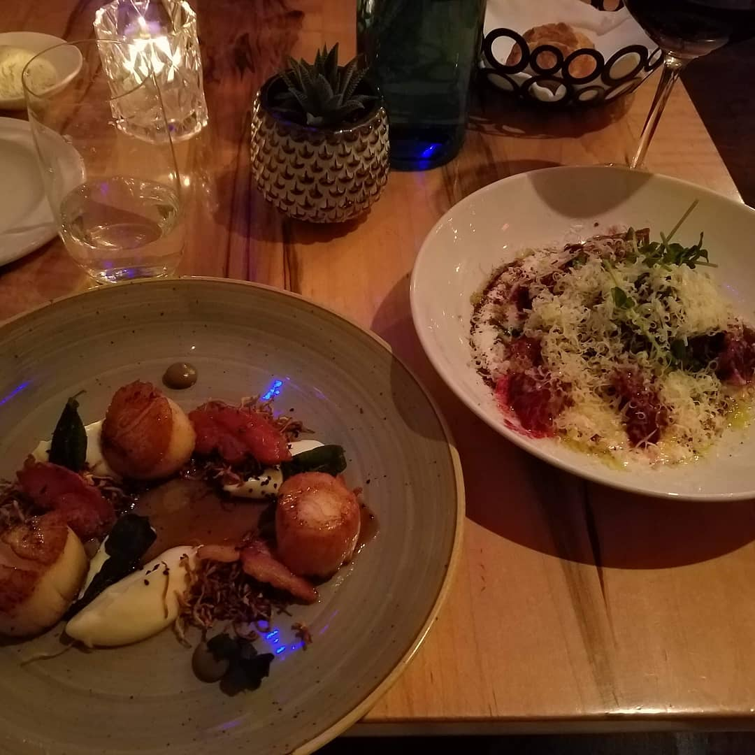 Delayed #foodporn from last night due to lack of wifi… Scallops and some roasted beets. Delicious and healthy! Ish. #torontofood  Elm Tree Restaurant… Fantastic. Great service. Can't find it in Instagram's Location field…