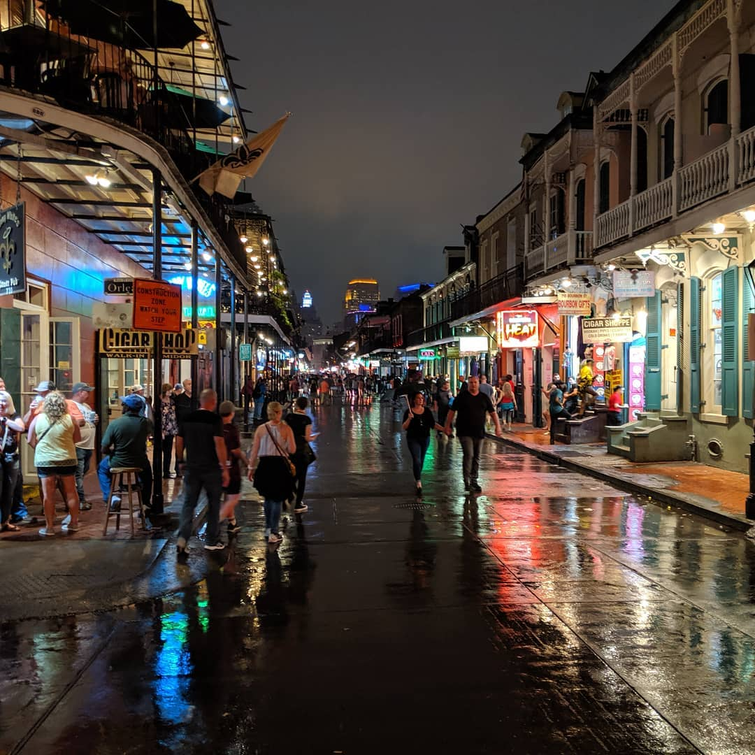 Bourbon Street on a rainy Friday night.