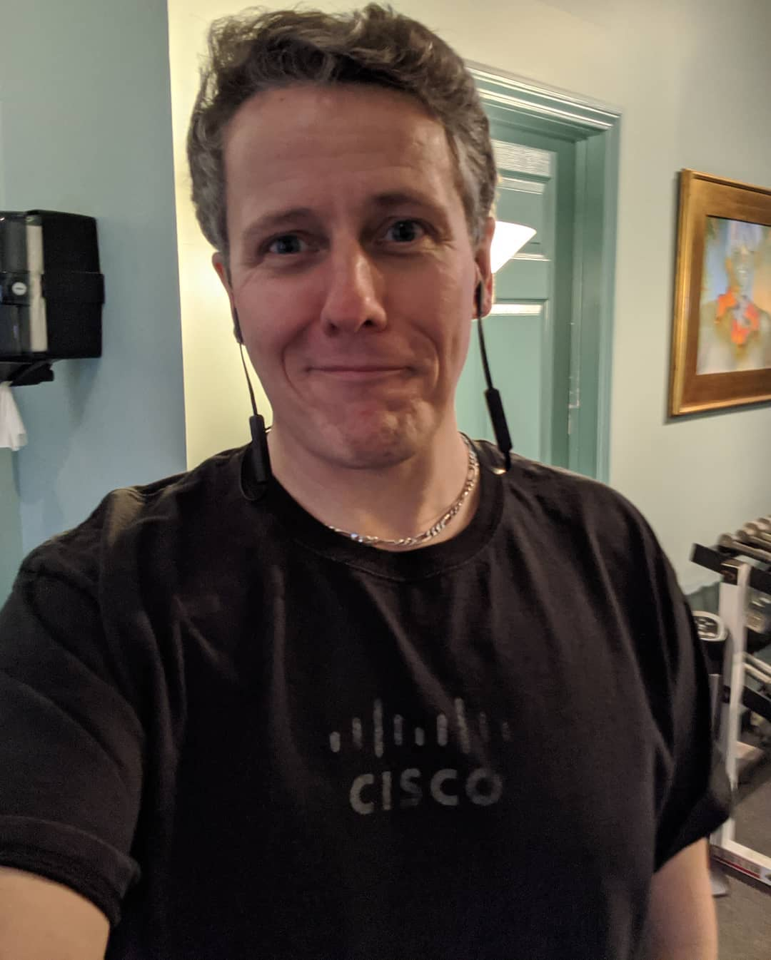 Me at the gym in my Cisco shirt. It's faded and ill-fitting… Sort of like Cisco…