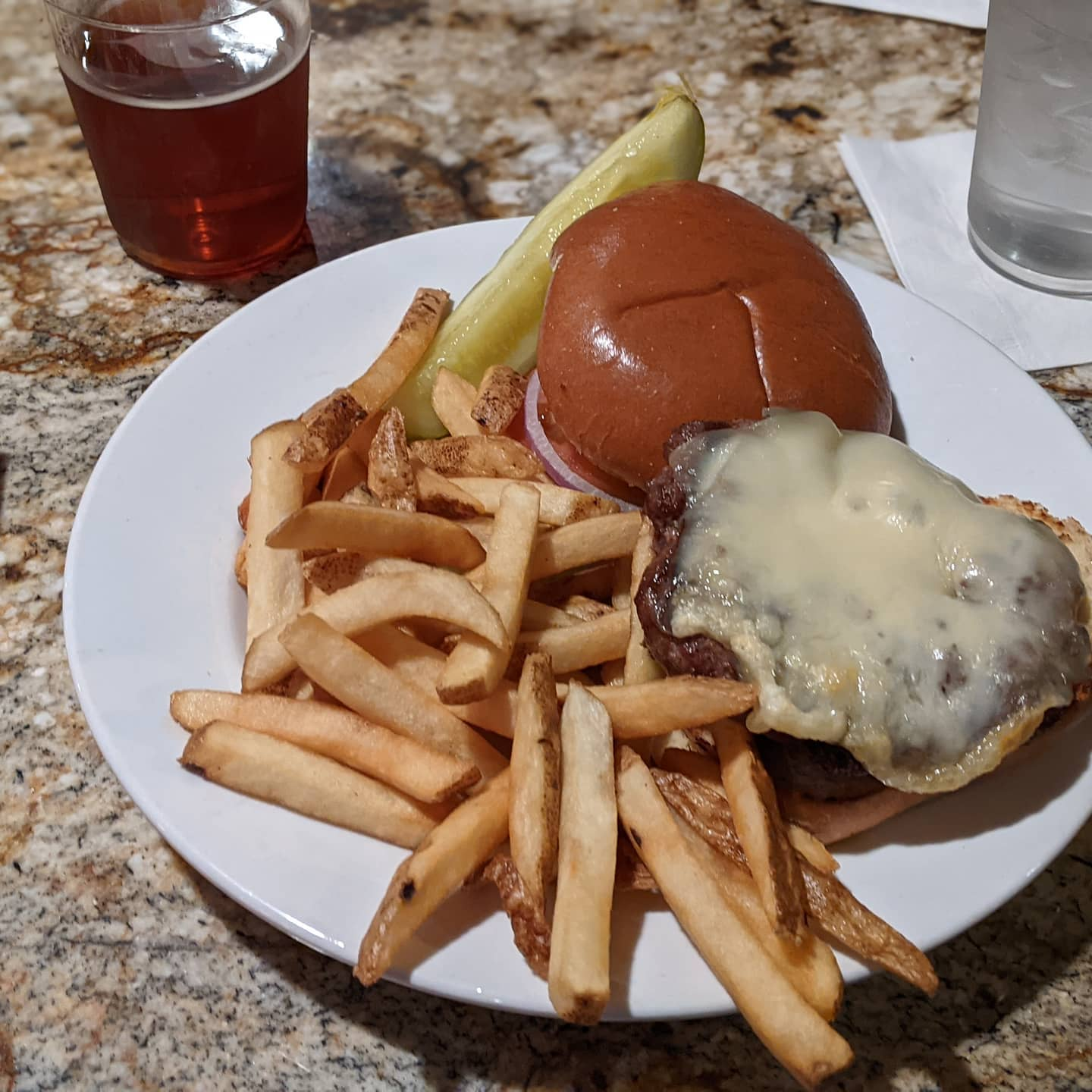 There are days I have some great #foodporn... But there are days like today after a 15 mile hike in the rain that a simple burger and fries at the hotel bar is what tickles my fancy. And it was delicious!