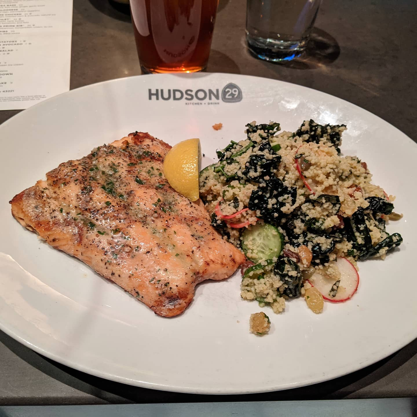 Unexpected #foodporn at #hudson29upperarlington after I got caught up in heavy enough snow that I decided driving another two hours was too dangerous.Really good salmon and couscous, along with a very nice amber ale. Thank you for the lovely evening before I go crash in my hotel next door and watch a movie 🙂