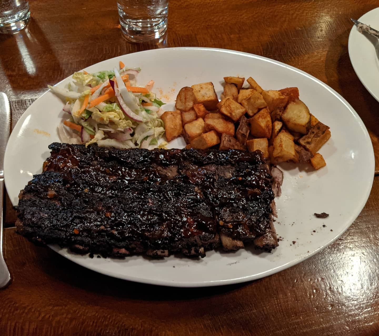 Not a lot of opportunities for #foodporn in a busy week, but here's some ribs cut St. Louis style and cooked in an Asian barbecue sauce. Really tender, and really good. #cleveland #fatcatstremont