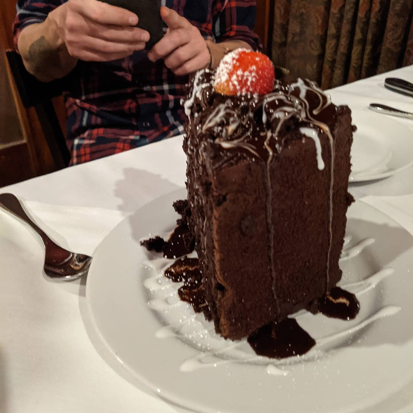 """And this is what you get in when you fail to notice that the menu specifies that the chocolate cake is """"sharing size"""". #okc #foodporn"""