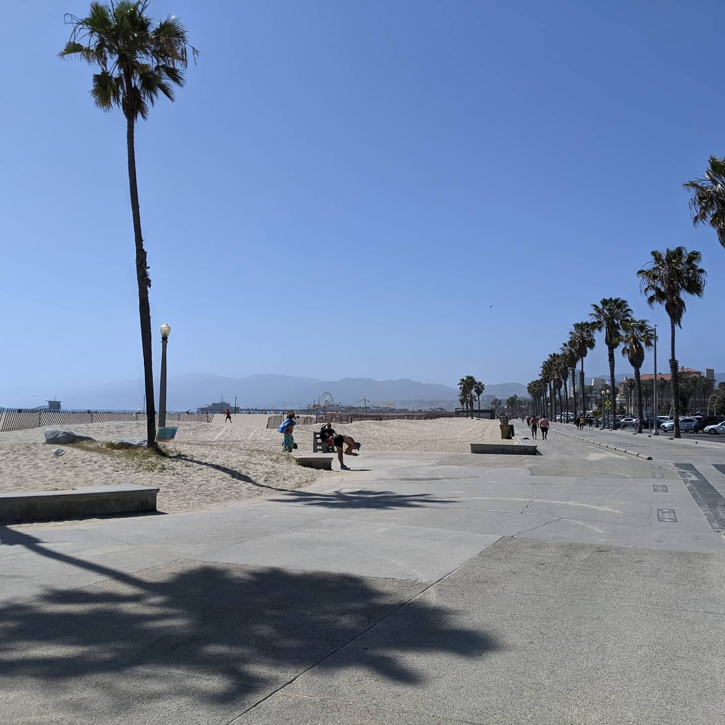 A nice walk from Venice Beach to Santa Monica Pier and back. There are perks to consulting