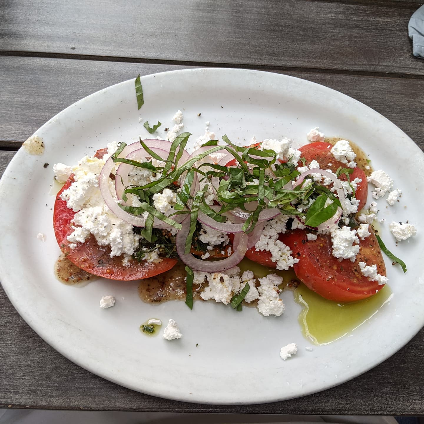 And some food. A tomato feta salad with balsamic at Frazer's