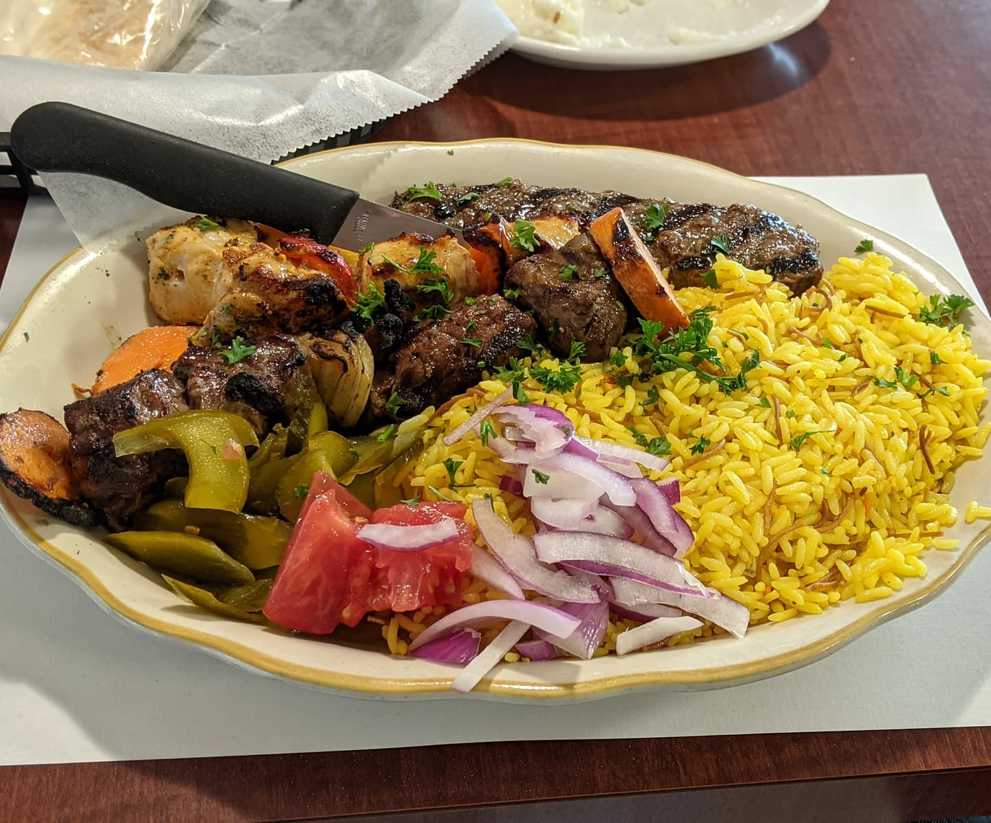 Completely neglected to post last night's #foodporn. Shish combo at Taza Fresh Grill. Absolutely delicious #detroit
